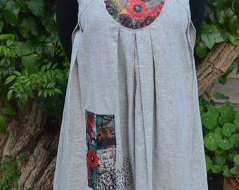 Women's linen tunic, size Med (12 Aus). Upcycled