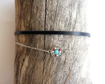 Thin Leather Mandala Choker with Silver Chain - Mandala Jewelry -Stocking Stuffer -Yoga Jewelry - Bohemian Gift Ideas  -Minimal Chain Choker