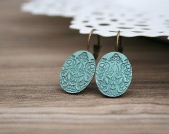 Earrings vintage mandala geometry petrol