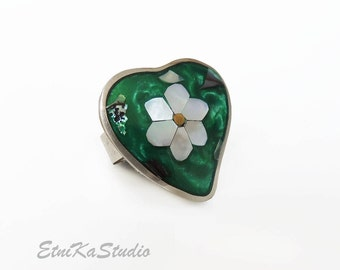 RING Alpaca Silver Abalone mother of the pearl shell mosaic inlay, green heart shaped floral design adjustable