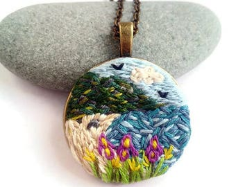 Unique jewelry gift|for|her Sea landscape necklace Nature lover gift|for|women Personalized jewelry embroidery necklace Embroidered jewelry