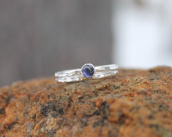 Iolite stacking ring set in sterling silver * Hammered stacking rings