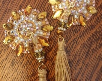 "Gold burlesque nipple tassels, breast nipple covers pasties: The ""Glow Job""!"
