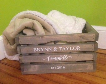 Large Personalized Rustic Wood Crate