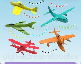 Plane Clipart, Airplane Clipart, PNG Planes, Colorful Airplane Image, Aeroplane Graphic, Classic Plane Scrapbook, Instant Digital Download