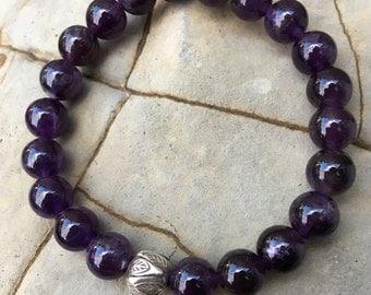 Bracelet // Amethyst, Karen Hill Tribe Silver // Stretch Wrist Mala