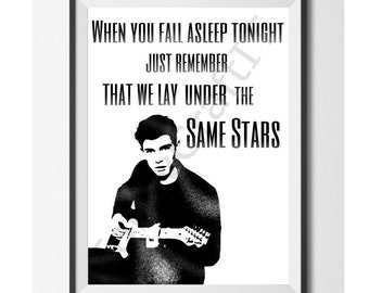 Shawn Mendes Printable Art with Never Be Alone quote -INSTANT DOWNLOAD