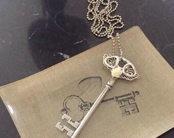 Silver leaf and heart rose charm  Key necklace skeleton Silver Vintage Key Pendant