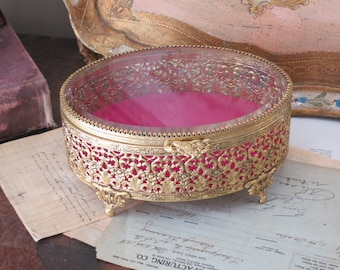 RESERVED for SUSAN Pretty Vintage Oval Gold Ormolu Jewelry Box Beveled Glass Pink Velvet Lining