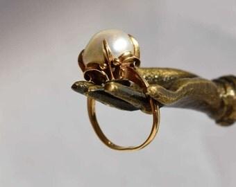 Antique Victorian Baroque Pearl Ring Fleur-de-Lis 18k Gold Ring Estate Baroque Pearl Ring Large Pearl Ring Neo Victorian Steam Punk Jewelry