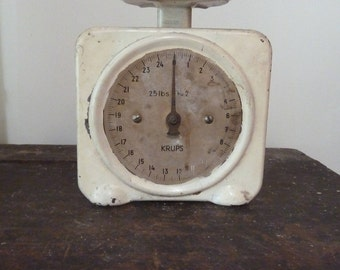charming white krups kitchen scales / made germany / farmhouse / vintage kitchen scales/ rustic / vintage kitchen / kitchen scales c.1940
