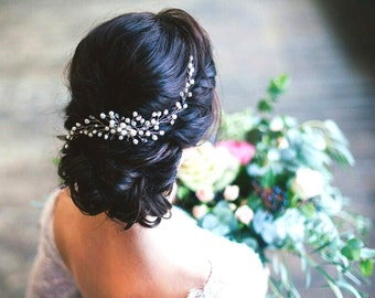 Bridal hair vine, Wedding hair accessories, bridal halo bridal crown, pearl and crystal hair vine ,Bridal hair comb, Delicate hair vine