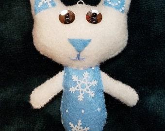 Light Blue Snowflake Kitty Feltie (Cat Doll Ornament Keychain)
