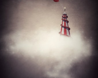 Dreamy Art, Surreal Art, Nursery Art, Red Nursery, Unique Art, Home Decor, Helter Skelter Print, Photo Prints, Magical Art, Balloon Print