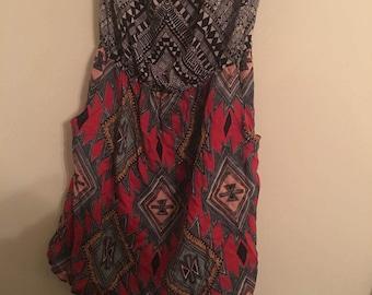 Aztec Pattern Sundress With Pockets Size S/M