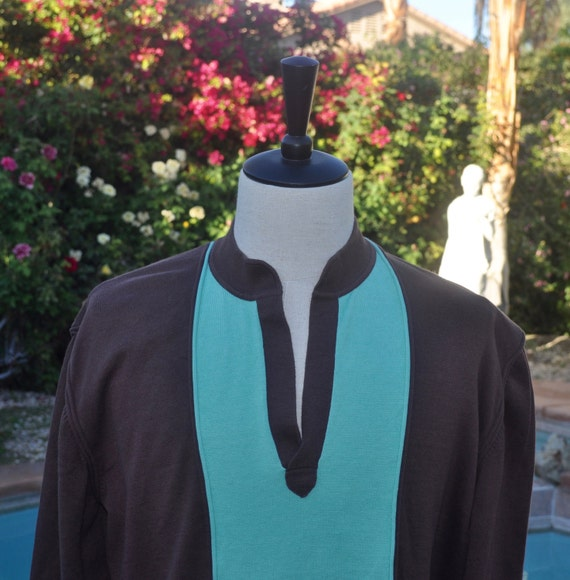 Men's Cotton Shanghai Tang Mint Green and Brown Low V Neck Sweater Sz XL