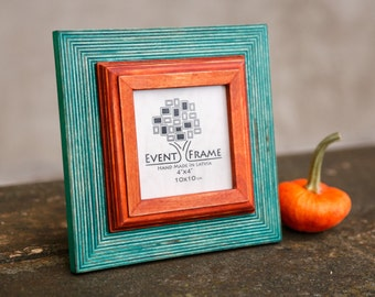 4x4 Square Picture Frame, Instaframe Style, Hanging on Wall or Standing on Table, Shabby Chic Photo Frame from Natural Wood