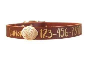 Custom Leather Dog Collar, Leather Dog Collar with Name Plate, Phone Number, Dog Collar Custom, Dog Collar Leather, Dog Collar Personalized