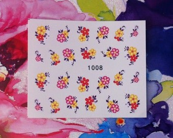 Assorted Colourful Bouquets Floral Flower Nail Decals Tattoo Water Transfer Wedding Bridal Bride Nature B152