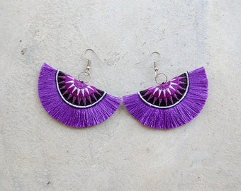 Lavender Half Moon Tassel Earrings with Hmong Embroidery