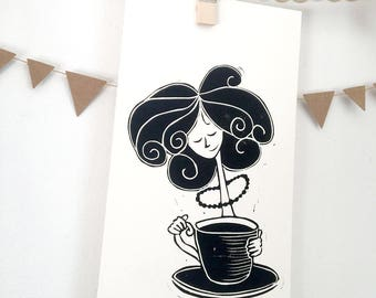Design for lovers of tea, Tea time gift card, original linocut hand-made, Cup party tea