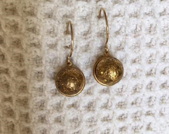 Vintage Style Button Earrings with Antique Metal Buttons-Repurposed-Unique-Victorian Style-14k Gold Filled-Button Jewelry-Upcycled Jewelry