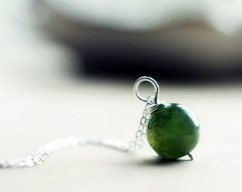 Sterling silver green moss agate pendant | Simple gemstone green round bead necklace | Earthy natural pendant | Woodland forest ball pendant