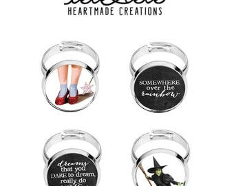 Customizable handmade steel ring with Wizad of Oz illustrations