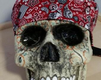 Motorcycle Flag Skull Cap Helmet Lined Du Rag hat chemo cap surgical hat motorcycle biker head wrap Chef Hat Do Rag