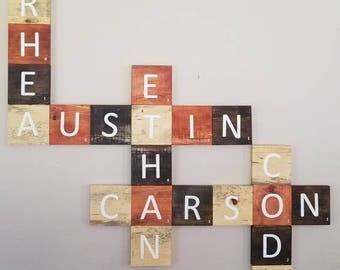Scrabble name tiles
