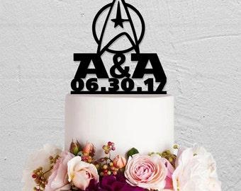 Star Trek Cake Topper,Wedding Cake Topper,Custom Cake Topper With Initials And Date,Initials Cake Topper,Couple Cake Topper