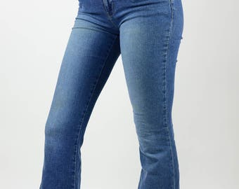 vintage 90's DKNY mid rise flair jeans bellbottom designer boho chic festival hippie gypsy
