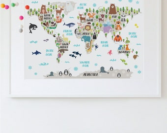 Nursery Printable, Animal World Map Kids World Map Poster Nursery World Map Baby Room Map Kids Map Art Animal Nursery Decor Unique Baby Gift