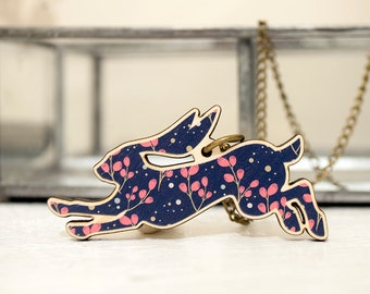 Jumping Hare Wooden Pendant - Navy