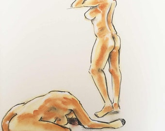 Act / / nude drawing / / nude drawing / / 29.7 cm x 42 cm. In inch 11,69 x 16,54