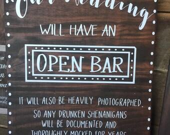 Open bar wedding wood sign vinyl lettering