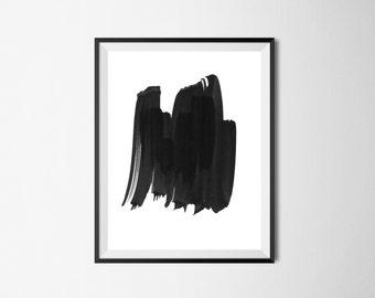 Brush stroke print, Minimalist print, abstract print, modern minimalist, brush stroke art, black and white print, minimalist art,