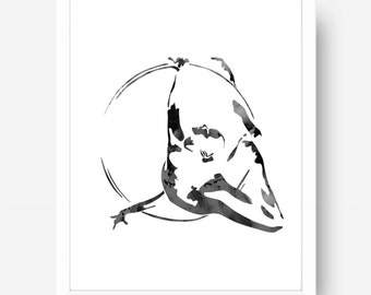 Aerial Ring Girl - Black And White Print - Cirque Art - Circus Art - Wall Art - Circus Poster - Circus Illustartion