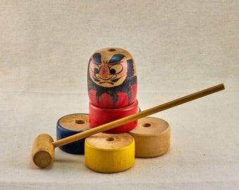 Daruma Otoshi The Falling Daruma wooden toy. Vintage, Japanese children toy.