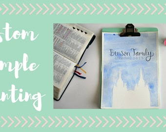 Custom and Personalized Temple Painting - LDS Temple Art - Wedding Gift - Custom Watercolor - LDS Art - Wedding Gift - 8x10