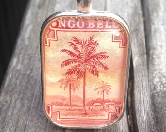 Palm Tree- Pendant Necklace, Postage Stamp Jewelry, Tree, Vintage, Silver, 24 inch chain, postage stamp, red, Belgian Congo
