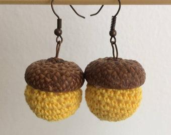 Vintage Style Earrings, Brown Yellow Acorns, Acorn Earrings