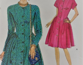 Vintage Very Easy Very Vogue sewing pattern 8195 - Misses' fitted, lightly flared dress with princess seams