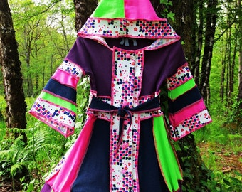 Child coat sharp Hoodie cotton patchwork and jersey vintage recycles blue, purple, green, pink and white!