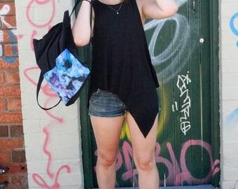 stylish black backpack in galaxy design