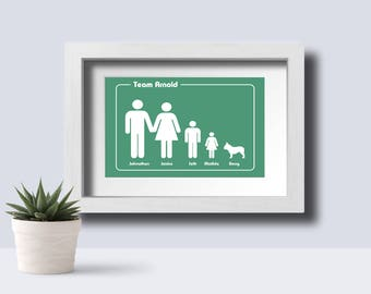 Family team print, father's day, family tree, personlised family portrait, personalized family team print