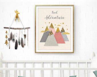 Mountains printable, Nursery Print, Tribal nursery print, Nursery Art, Nursery Pink Decor, Baby Girl Gift, Gold, Pink Wall Art, BaronPrints