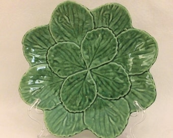 Set of 4 Salad Plates - Bordallo Pinheiro Green Leaf Plates