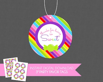 So Sweet Rainbow Candy Birthday Party Thank You Favor Tag - INSTANT DOWNLOAD