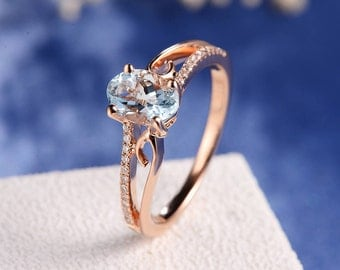 Engagement Ring Rose Gold Aquamarine Women Antique Unique Curved Wedding Bridal March Birthstone Butterfly Diamond Anniversary Gift For Her
